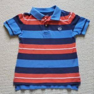 Chaps blue and orange striped polo size 5